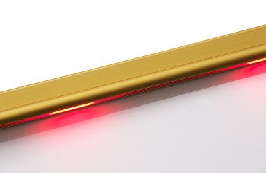 Gold Lighted Stair Nosing with Safety Yellow PVC Anti Slip Insert - WOES009 tread section