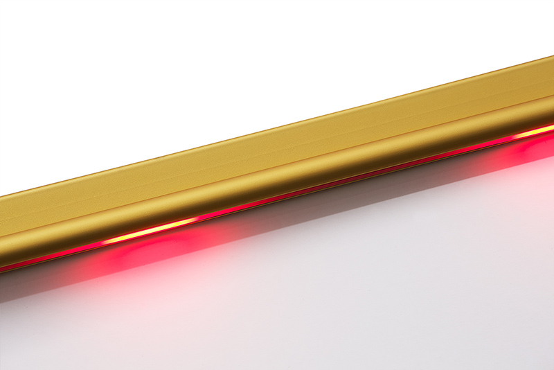 Gold Lighted Stair Nosing With Safety Yellow PVC Anti Slip Insert   WOES010  Riser Section