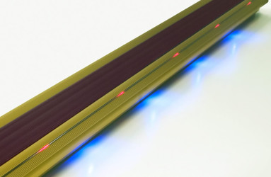 Gold Lighted Stair Nosing with Burgandy PVC Anti Slip Insert - WOES 008 GLD