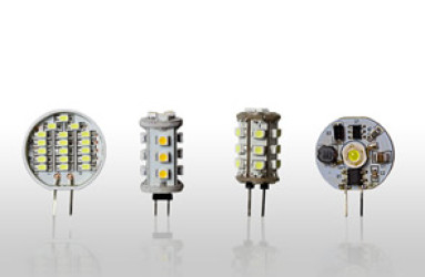 LED Lighting - From left to right - BPIN0.8, BIPIN1.2 Pure White, BIPIN1.2 Warm White, BIPIN1CC-E Pure White - Warm White