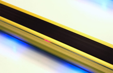 Gold Lighted Stair Nosing with Black PVC Anti Slip Insert - WOES 008 GLD